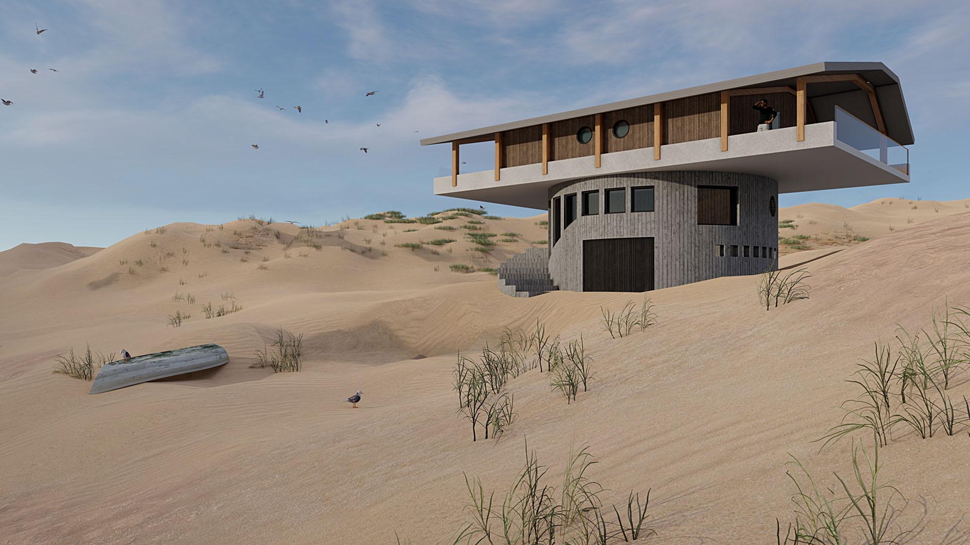 Vrijere werk van Van Tijen: draaibaar strandpaviljoen
